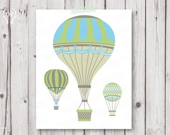 Hot Air Balloons printable nursery wall art decor baby boy instant download