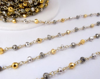 Assorted Pyrite on Gold over Sterling Silver or Plated Wire Wrapped Chain -- PER FOOT (CHN-357)