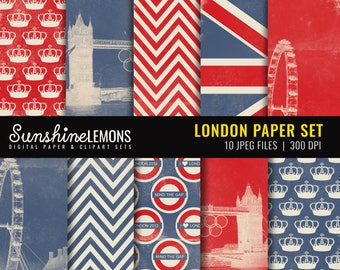 London Digital Scrapbooking Paper Set - COMMERCIAL USE Read Terms Below