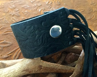 Leather fringe bracelet