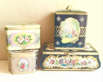 Collection of Pretty Vintage Tins with Lids Tops Floral Tea Biscuit Kitchen Storage Cottage Style Romantic Shabby Chic Decor Metal Canisters