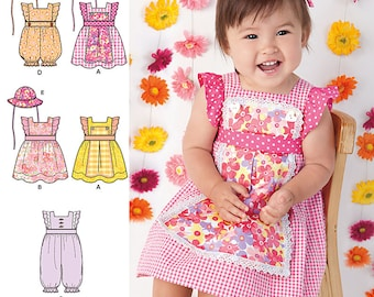 Simplicity Sewing Pattern 1470 Babies' Dress, Romper and Hat in Three Sizes
