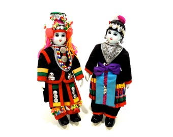 VINTAGE: Pair of Colorful Thai Chiangmai Akha Doll - Ethnic Doll - ASIAN Doll - Thailand Doll - Collectable Doll - SKU 25-C6-00006790