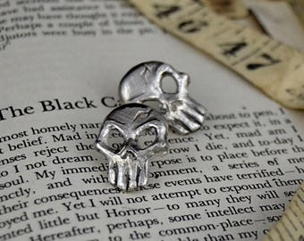 Carved Skull Stud Earrings