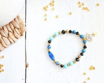 Bracelet Horus, blue, black and golden beads, evil eye charm, ancient egypt inspiration, for women