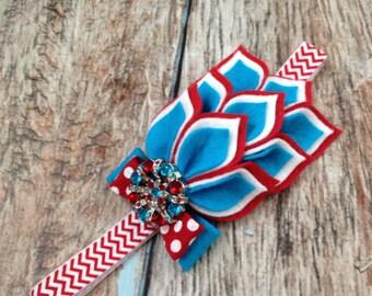 Red / Turquoise Felt Flower Headband - Felt Dahlia Petals Chevron Headband - Seuss Inspired Headband