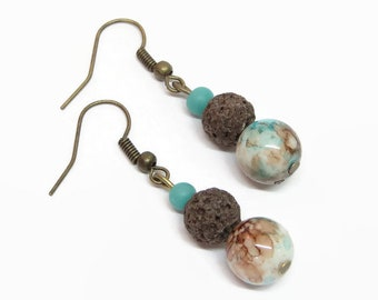 Turquoise and Brown Diffuser Earrings, Brown Lava Rock Earrings, Turquoise Aromatherapy Earrings, Essential Oil Diffuser Earrings