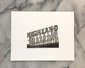 Highland Theatre, Unframed Letterpress Print
