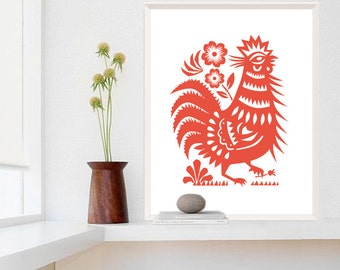 Large Rooster Poster,  Restaurant Decor, Rooster Kitchen Decor, Chinese Cut Paper Style Lucky Rooster