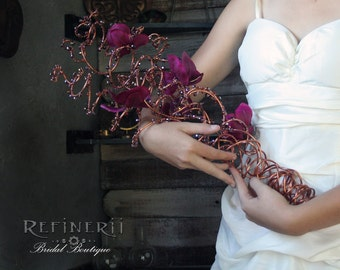 Copper, Crystal and Orchid Wire Wedding Bouquet. SALE- DISCONTINUING.