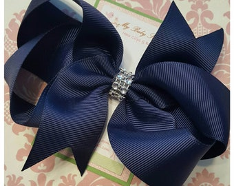 Girl hair clips, girl hair bows, barrettes for girls, navy blue hair clips, blue hair bows