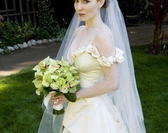 Chapel Length abusymother Two tier affordable Wedding Bride Veil white, ivory or diamond
