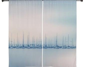 "Sheer Curtains - Marina, Boats, Sailboats, Ocean, Sea, Home Decor, 60x60 or 60x84"", nature photography by RDelean Designs"