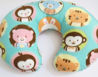 Cute Baby Animals in Circles on Teal fleece Boppy or nursing pillow cover