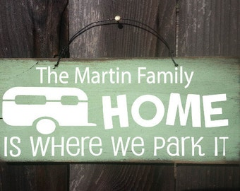 Home Is Where We Park It Sign, personalized Camper Sign, personalized Camping Sign, Camping Decor, RV Sign, RV decor, Snowbird Gift, 87