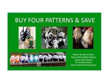 4 Instant Downloads - Buy Baby Ghillies - Hockey Skates - Figure Skates - Soccer Cleats - PDF Crochet Patterns and Save