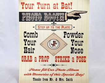 Baseball Wedding Photo Booth Sign