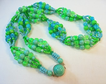 Vintage Greenery Green / Blue Celluloid Plastic Lucite Necklace Hong Kong Retro Large Chunky Retro Statement Art Deco Runway