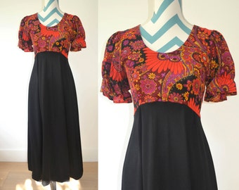 Vintage 1970s Maxi Dress Black, Red, Purple, Orange Paisley Floral Short Sleeved Long Dress with Black Skirt - Bow Tie Empire Waist
