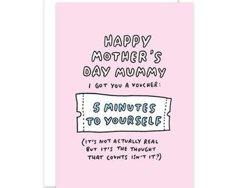 Happy Mother's Day Mummy I Got You A Voucher Cute Mothers Day Card - Funny Mothers Day Card - Young Mum - Card for Mum - Card for Mom - Pink
