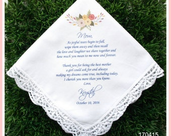 Mother of the Bride Hankerchief-Wedding Handkerchief-PRINT-CUSTOMIZED-Wedding Hankerchief-Mother of the bride Gift-Mother of the Groom Gift