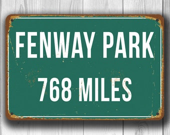 PERSONALIZED FENWAY PARK Distance Sign, Fenway Park Stadium, Fenway Park Miles, Personalized Red Sox Gifts, Red Sox Sign, Boston Red Sox