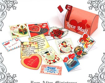 1:12 Valentines Day MAILBOX Dollhouse Miniature Letter Set – Printable Letter Mailbox Heart Love Letter Mailbox Valentines Day Card DOWNLOAD