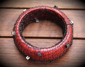 Red Wire Knit Bracelet with Hematite Squares