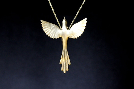 Phoenix bird necklace easter jewelry exotic bird Greek mythology necklace sterling silver pendant open wings hand carved  mother's day gift