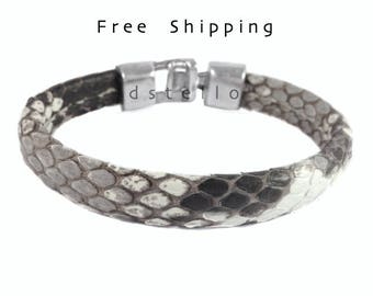 Mens bracelets, Real Python Skin bracelet, Snakeskin, Genuine snakeskin, Anniversary gifts - Jewelry for him, Silver color hammered clasp
