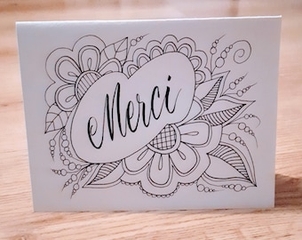 Merci - Thank you card - colorable