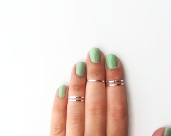 Knuckle Rings - Set of 5 thin rings in silver, Silver Rings, Midi rings, Stacking Rings, Stackable Rings, Rings for girls