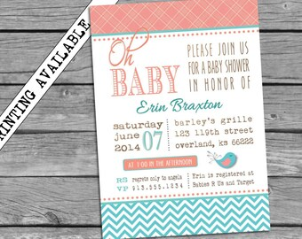 Baby Girl Shower Invitation Aqua Turquoise Chevron and Pink Coral Salmon Little Bird