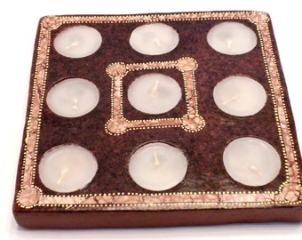 Terracotta Square Candle Holder with nine candles