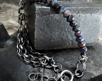 sapphire bracelet, ruby bracelet, statement, raw bracelet, raw, rough, silver, sterling silver, sapphire, ruby beauty gift, clothing gift