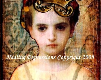 SECRETS OF SOUL altered art vintage girl collage therapy recovery survivor Atc Aceo card Print