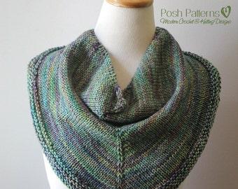 Knitting PATTERN - Knit Scarf Pattern - Knitting Patterns for Women - Infinity Scarf Cowl - Triangle Scarf Pattern - Shawl Pattern - PDF 370