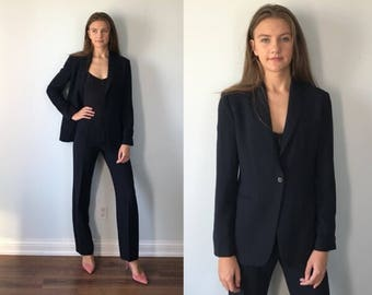 Vintage Emporio Armani Blue Pant Suit, 1990s Pant Suit, Blue Ladies Suit, Emporio Armani, Wool Pant Suit, Vintage Wool Suit