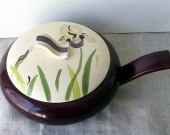 Red Wing Iris Covered Casserole Dish. Handled Dish with the Casserole Dark Brown, 1 1/4 Quart, Iris Painted on The Top, Unique Handle.