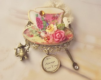 Tea Cup Brooch, Floral, Pink, Yellow, Green, Tea Cup, Tea Party Jewelry