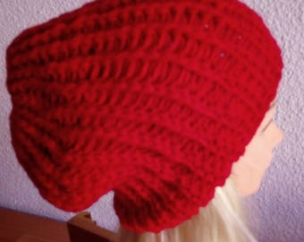 Hand knit hat Oversized Chunky Wool  Hat   red, hat slouchy hat   red, cable hat Superwash Wool