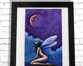 Fairy Art Print, Nude Woman, Faerie Illustration, Colorful Art Print, Boho Home Decor, Fantasy Artwork, Man in the Moon, Gift for Her Shano
