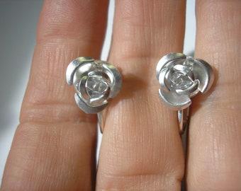 "Play Earring - Clip or Pierced - Rosebud - Silver - Metal - 3/8"""