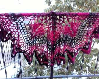 Danya Lacy handmade crochet shawl ladies wrap ombre cranberry black