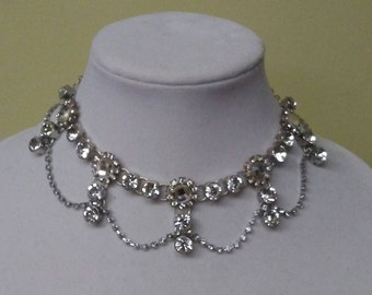 Crystal studded chain necklace
