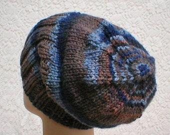Watch cap, slouchy hat, blue brown hat, brimmed beanie hat, winter hat, toque, mens womens knit hat, blue brown beanie hat, ski toboggan hat