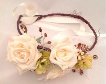 Boho bridal Headband, Bohemian headband, Flower Garland, Wedding Flower Crown, Flower crown, Bridal headpiece, Rustic woodland headband,