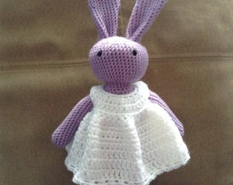Crochet Bunny Rabbit with removeable dress. Purple bunny & white dress. Soft toy rabbit.
