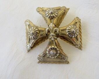 Maltese Cross Brooch Heraldic Fleur De Lis Pin, Heraldic Jewelry, Signed Accessocraft Vintage Malta Cross Designer Signed Jewelry