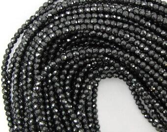 "4mm faceted hematite round beads 16"" strand 12994"